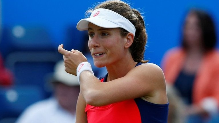 Johanna Konta loses to Coco Vandeweghe in straight sets at the Aegon Classic