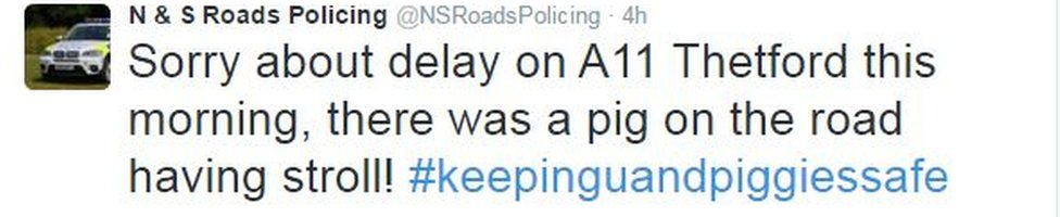 N & S Roads Policing tweet