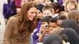 The Duchess greets students in the crowd from Oxford Spires Academy