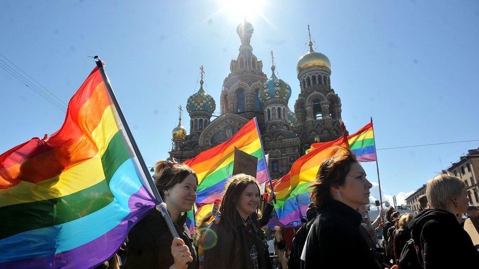 Banderas gays en San Petersburgo.