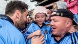Dublin star Bernard Brogan greets a young fan after the Leinster Final earlier this month