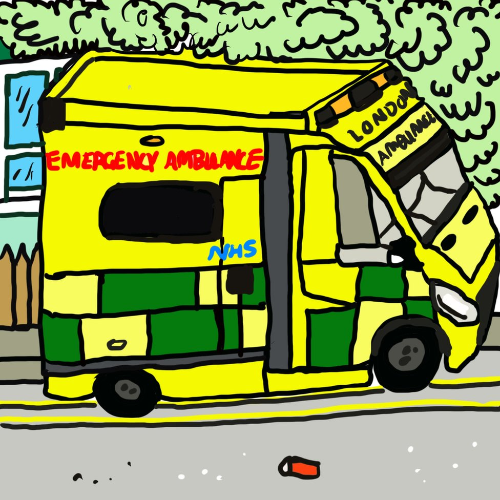 A drawing of an ambulance