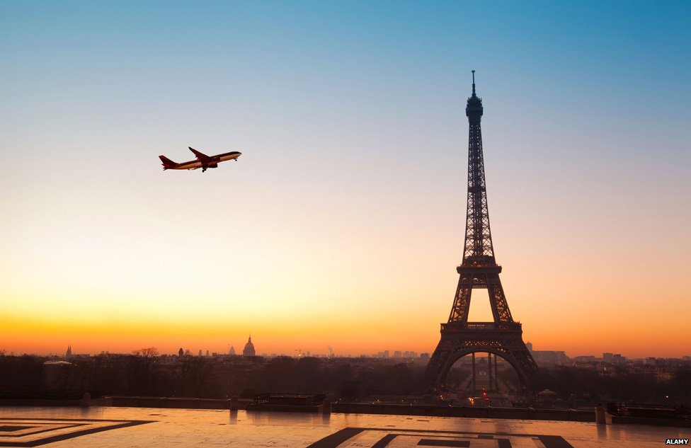 Plane flying past Eiffel Tower