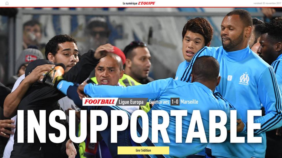"El diario deportivo francés L'Equipe califica de ""intolerable"" la patada de Evra. (Foto: tomada de L'Equipe)"