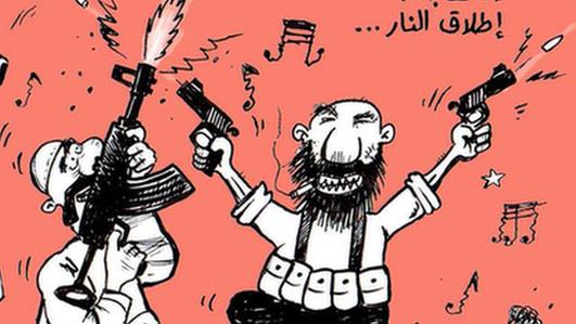 A cartoon showing men firing into the air