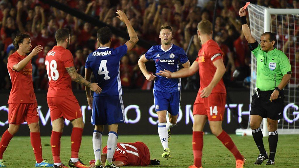 Chelsea v Liverpool: Cesc Fabregas sent off in friendly