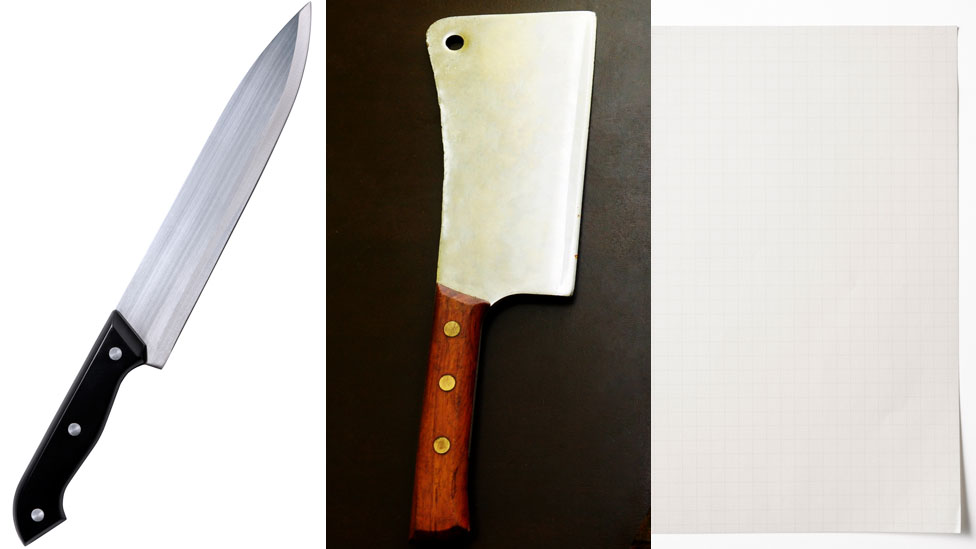 Cuchillo de cocina, de carnicero y hoja de papel