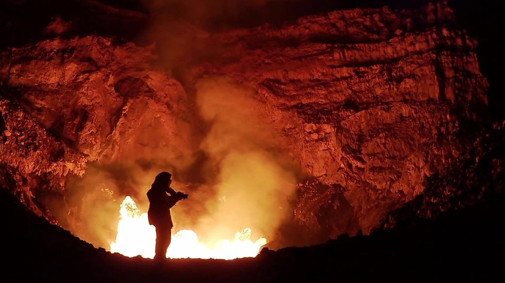 The photographer who lowers herself into active volcanoes