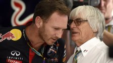 F1 supremo Bernie Ecclestone talks with Red Bull Racing Team Principal Christian Horner