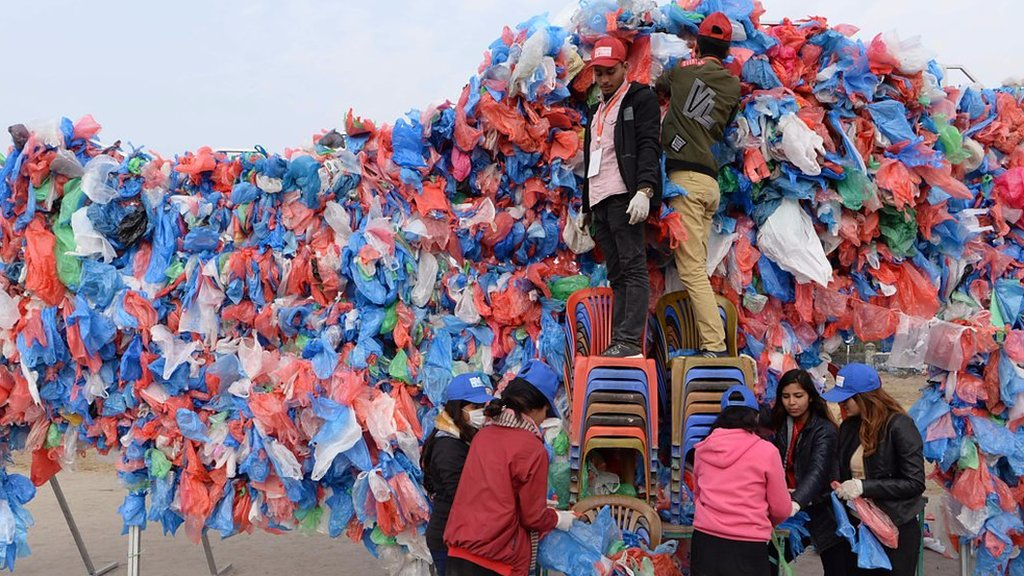 Nepal eyes world record with Dead Sea of plastic bags