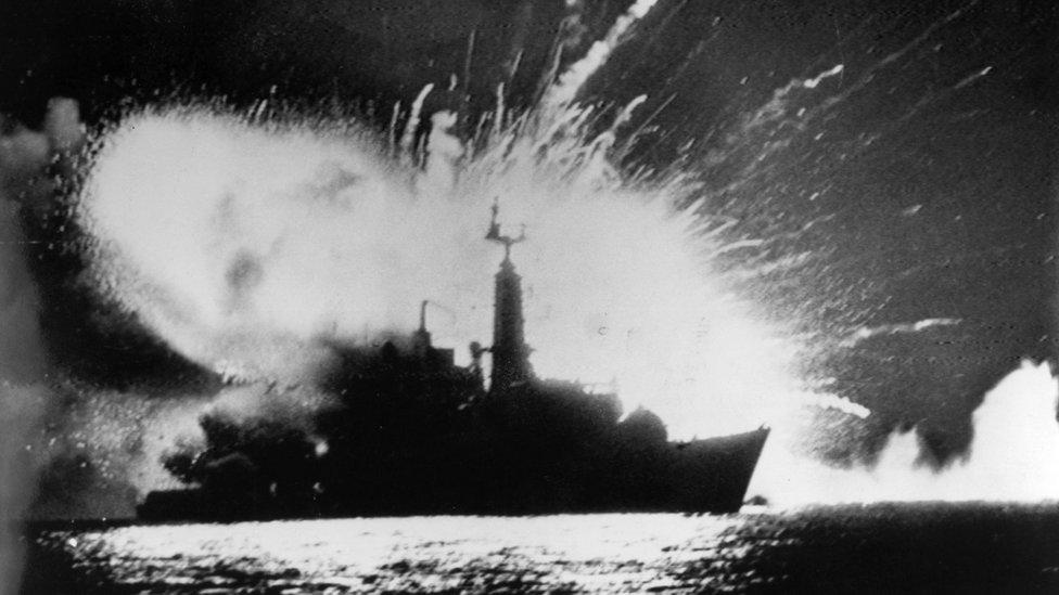 British frigate hit during the Falklands War