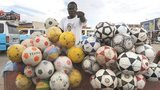 A football vendor in Angola