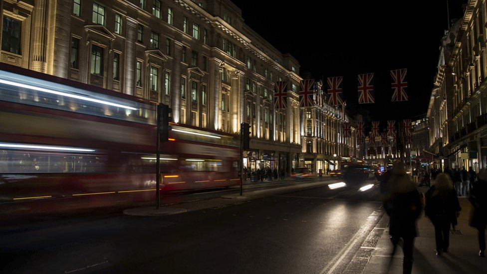 London's West End at night