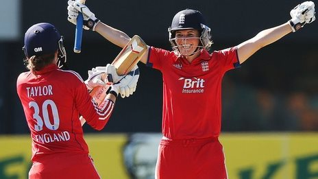 Sarah Taylor and Charlotte Edwards celebrate