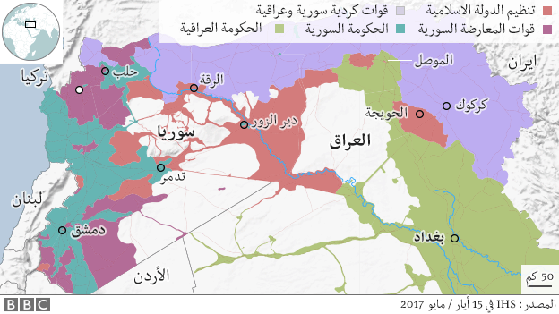 خارطة للعراق وسوريا