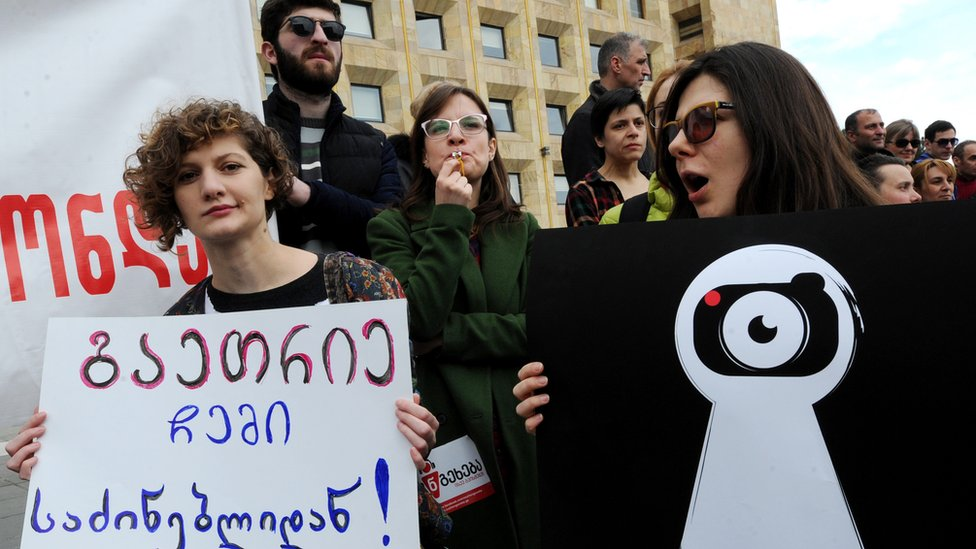Sex tape leaks led to protests against the authorities in Georgia