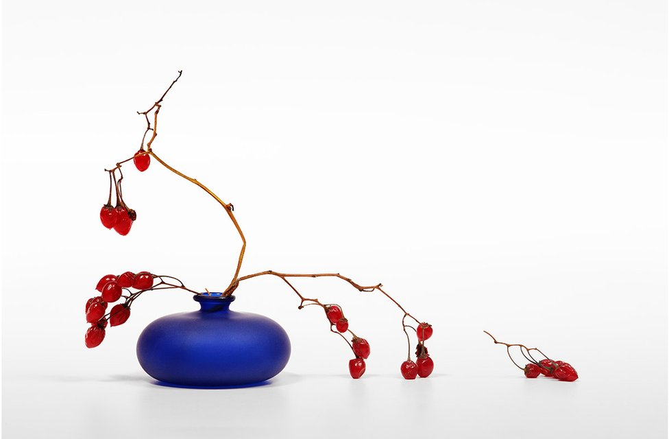 Red berries in a blue vase against a white background