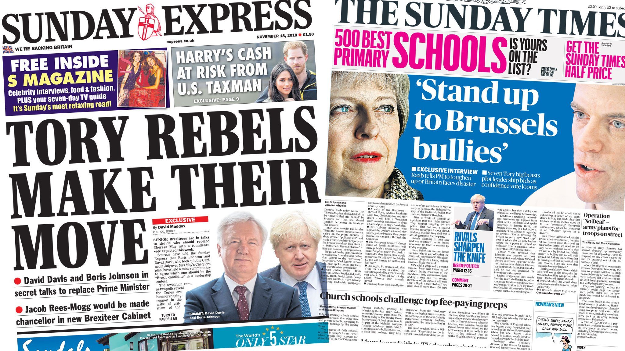 The Papers: Tory rebels make move and 'Brussels bullies'