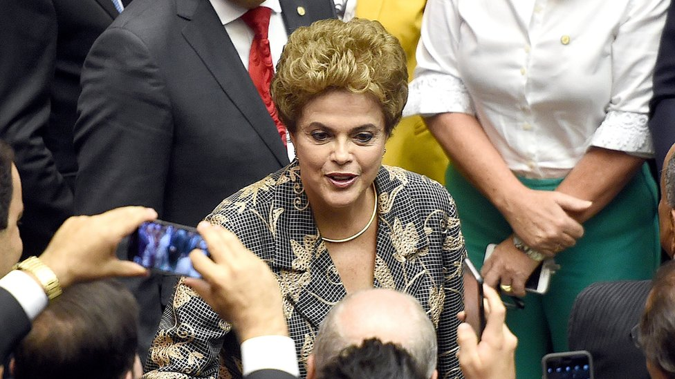 Brazilian President Dilma Rousseff greets lawmakers in the National Congress in Brasilia in February 2016.