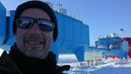 Peter Gibbs outside the Halley research station