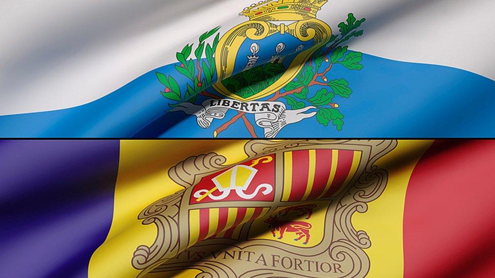 Banderas de San Marino y Andorra