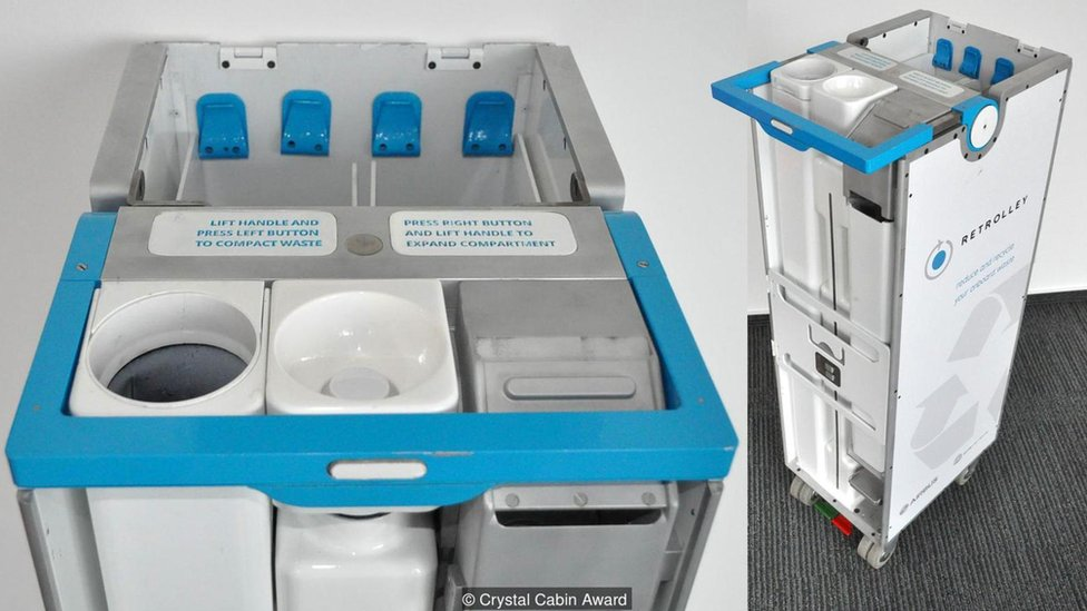 El Retrolley puede comprimir la basura a medida que se mueve por la cabina. (Imagen cortesía de Crystal Cabin Awards)