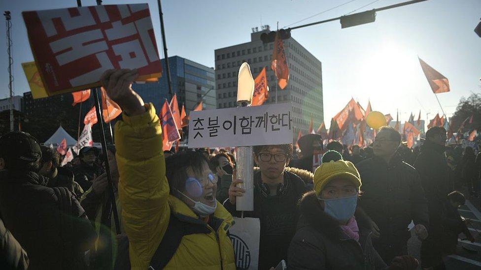 Protesta contra la corrupción en Corea del Sur.