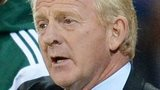 Scotland coach Gordon Strachan speaks to his players