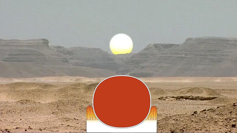 Arriba, la grieta entre las lomas y el Sol saliente. Abajo, el jeroglífico del horizonte, con el Sol en medio.