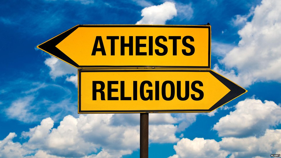 """Signposts pointing to """"Atheists"""" on one hand, and """"religious"""" on the other"""
