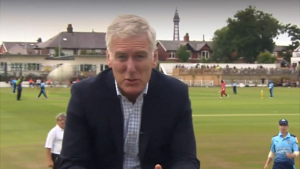 Cricket ball hit for six narrowly misses BBC reporter