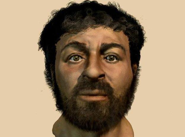 Ilustración hecha por la BBC del probable rostro de Jesús.