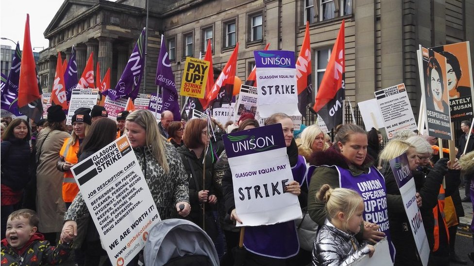 Schools and home care disrupted by Glasgow equal pay strike