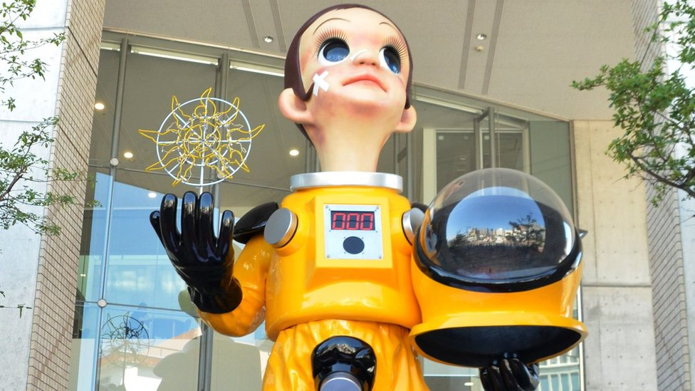 Fukushima child statue: Residents complain about radiation suit