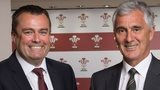 Martyn Phillips and WRU chairman Gareth Davies