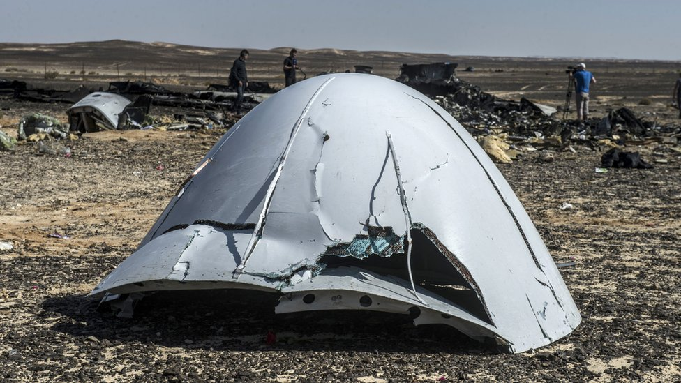 Debris of the A321 Russian airliner lie on the ground in Sinai Peninsula, Egypt