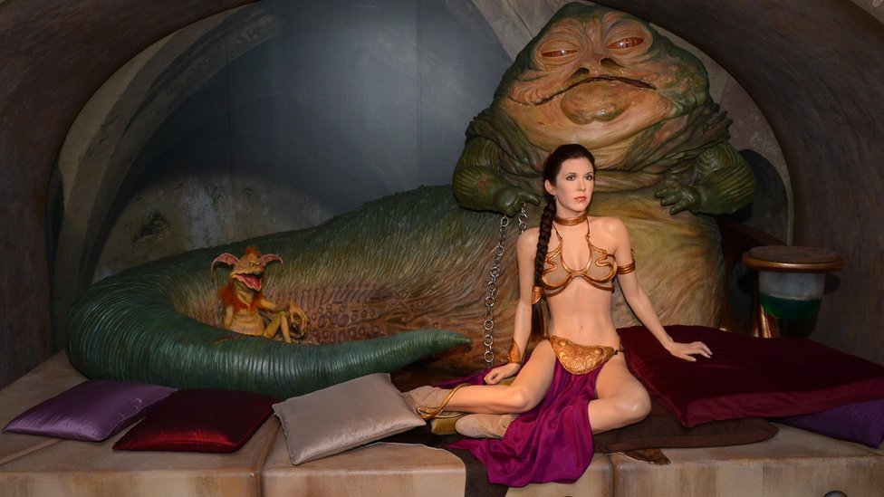 La escena de Leia cautiva es parte del museo de cera de la saga de
