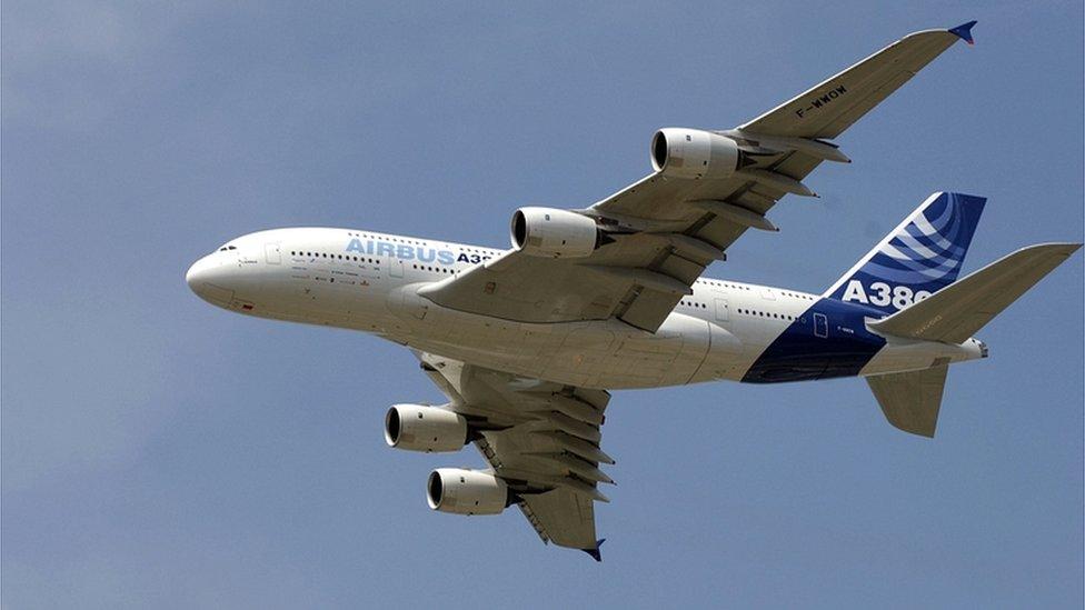 Airbus A380-800 aircraft at the Farnborough Air Show