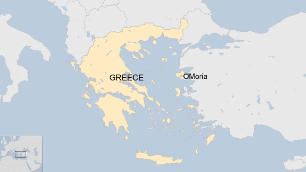 Mapa que muestra el campamento de Moria en Grecia