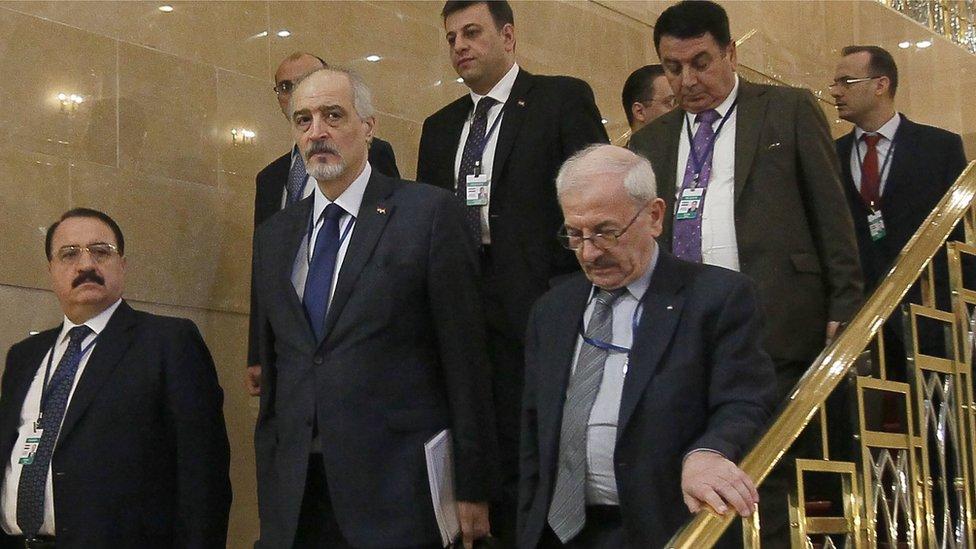 وفد الحكومة السورية في اليوم الثاني من الجولة الثالثة لمحادثات أستانة