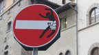 Altered no entry sign