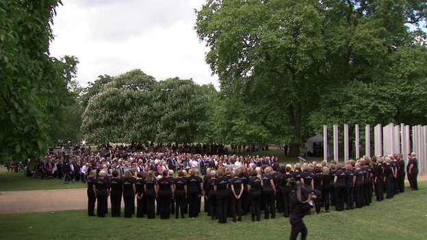 A minute's silence is observed as ceremonies take place in memory of the 52 people killed in the London bombings of 7 July 2005.