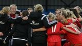 Wales women celebrate their 4-0 win against Kazakhstan