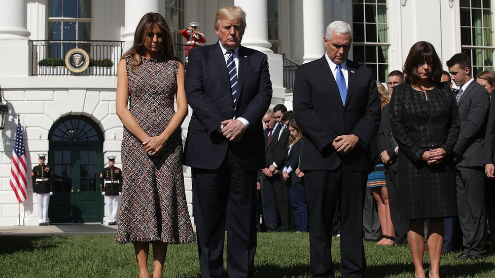 Trump during a moment of silence