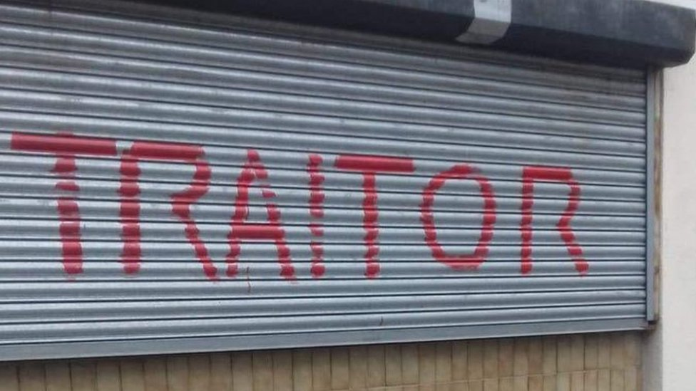 Chris Bryant MP: 'Traitor' painted on constituency offices