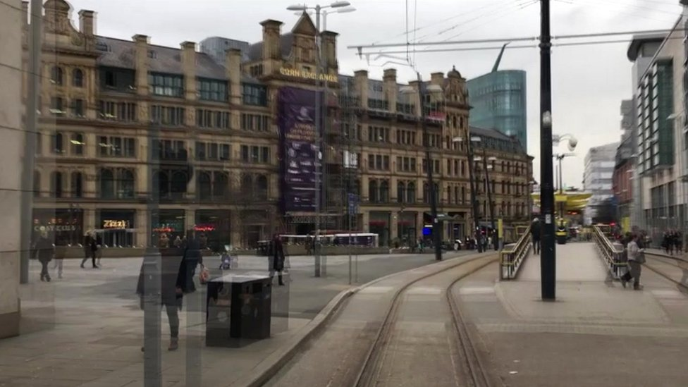 Tram driver's view of Manchester city centre