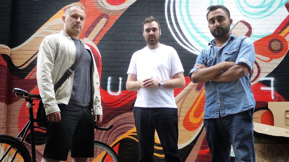 De izquierda a derecha, los fundadores de TrueView Damian Mitchell, Andrew Ibbotson y Matt Verity