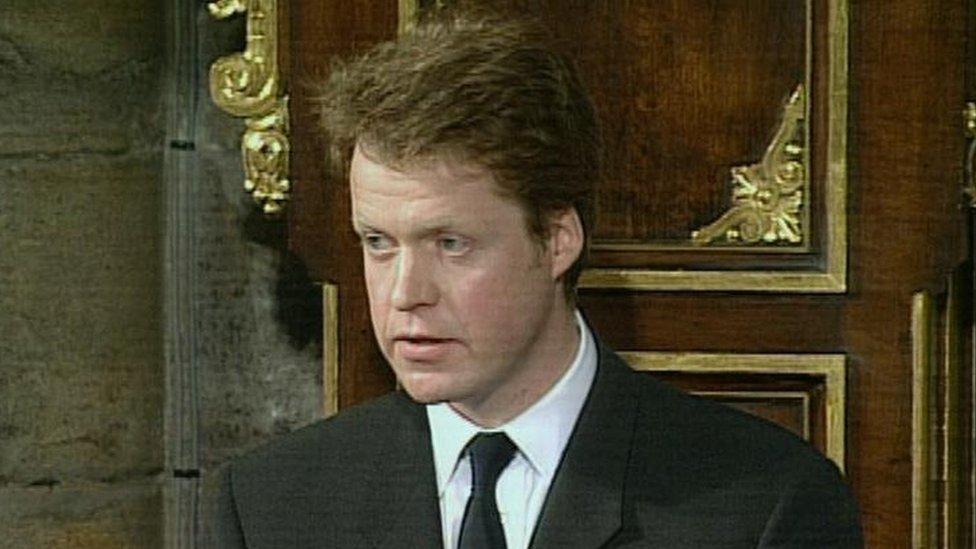 El conde Spencer durante su elegía a Diana