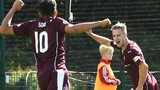 Hearts' Billy King (right) celebrates