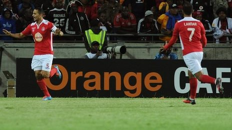Captain Ammar Jemal scores the equaliser in the first leg in Soweto